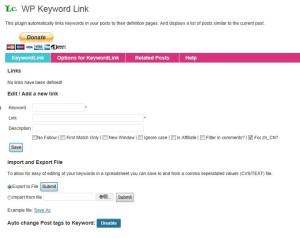WP Keyword Linkの設定「Keyword Link」タブ