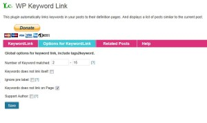 WP Keyword Linkの設定「Option for KeywordLink」タブ